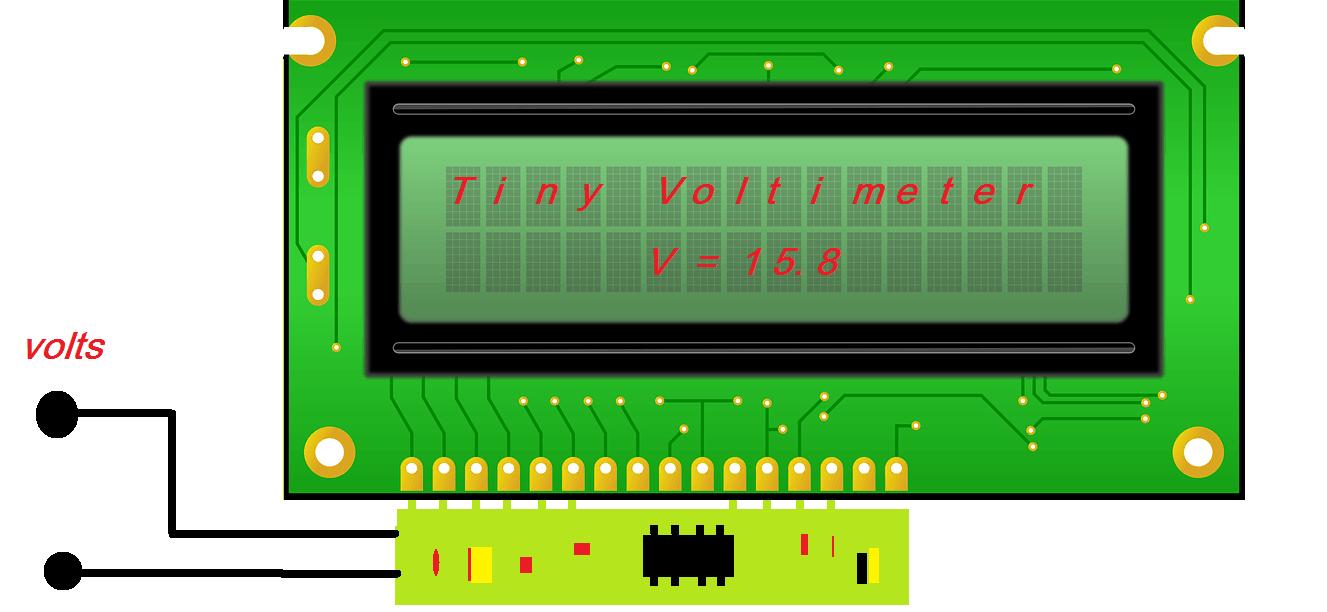 TINY VOLTMETER – VOLTIMETRO CC COM PIC 12F675 E LCD (REF218)