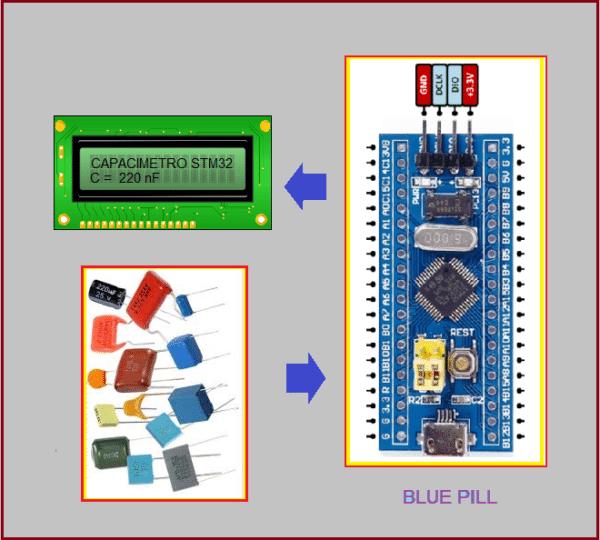 CAPACÍMETRO DIGITAL C/ BLUE PILL (REF360)